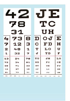 mutasson egy betűtáblát egy szemvizsgálaton