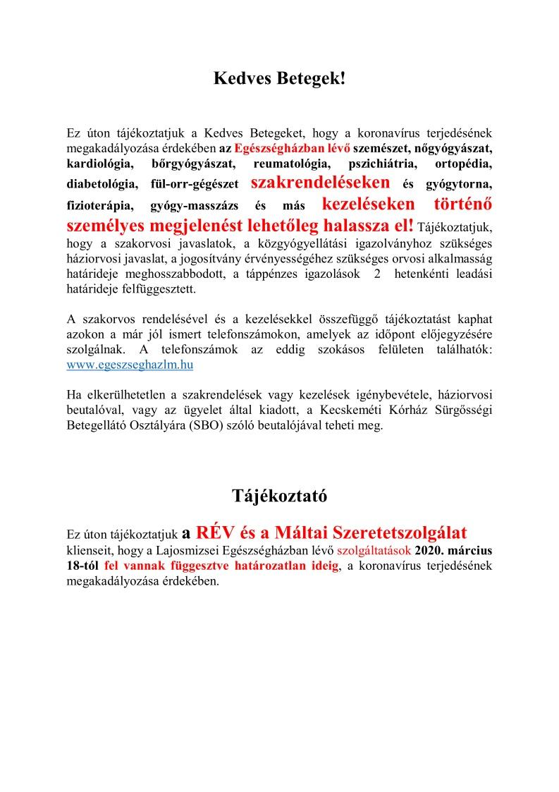 Újraindul a szemészeti és fizikoterápiás rendelés Solymáron   Solymár Online