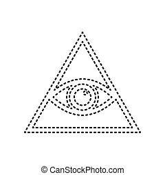 Látás, Minden, Piramis, Szem, Spiritual., Szürke, Jelkép., Háttér., Fekete, Nyomtatott, Vector., 3,