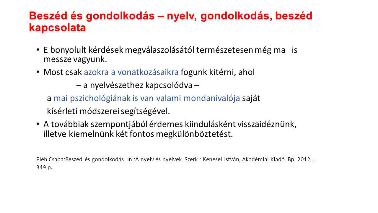 Gondolkodás és beszéd kapcsolata by Hanna Cseszlai